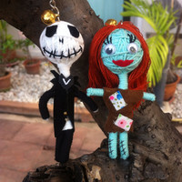 Sally Jack Nightmare Before Christmas films Tim Burton Moiranne Gothic Voodoo String Doll Funny Keyring Keychain Key Ring Key Chain Bag Car