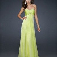 Strapless Sheath Empire Pleated Bodice Beaded Chiffon Prom Dress PD1798