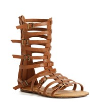 Cognac Gladiator Buckle Sandals