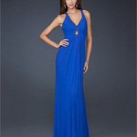 V-neck Column Gathered Bodice Floor Length Chiffon Prom Dress PD1820