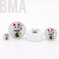 Lucky Cat BMA Plugs 0g 8mm by BMAMOD on Etsy