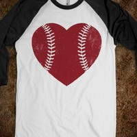 Baseball Heart-Unisex White/Black T-Shirt