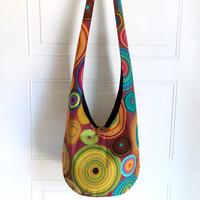 Hobo Bag, Sling Bag, Geometric, Circles, Colorful, Hippie Purse, Crossbody Bag