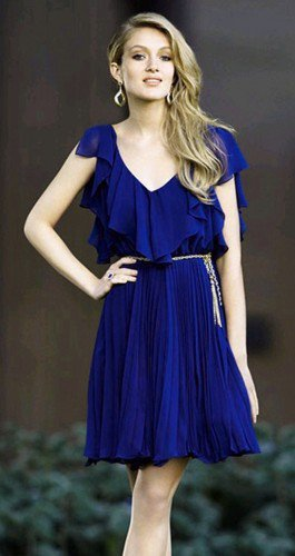 Big Ruffle Neckline Royal Blue Pleated Chiffon Dress. Bridesmaids | GlamUp - Clothing on ArtFire