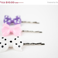 SPRING SALE Set of 3 Little Bows Hairpins