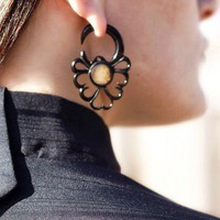 Fake Gauges  Horn Snowflake Earrings with Shell by TribalStyle