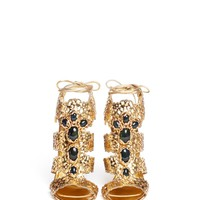 Filigree baroque jewel laser-cut sandals