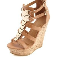 GOLD-PLATED STRAPPY PLATFORM WEDGE SANDALS