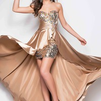 Zlass Sweetheart Rhinestone Covered Side-ruched Taffeta High Low Prom Dress (Us10, Xchampagne)