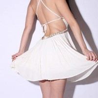 White Mini Dress - Bqueen Sexy Halter Deep V | UsTrendy