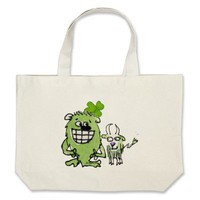 Green Monster Goat Shamrock Cartoons Tote Bags from Zazzle.com