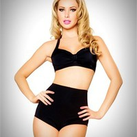 Pinup Swimsuits - 2 PC. High Waist Pinup Swimsuit Set in Solid Black