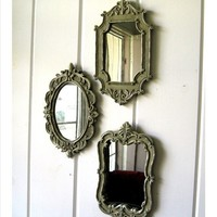 Set of 3 faded French Romantic style Mirrors by selinabeadsnbits