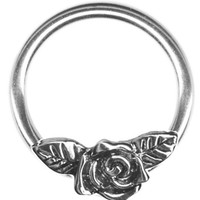 One Rose Flower Captive Ring-Rose w/Leaves Flower Cartilage Earring-Nipple Ring-Brides-Bridesmaids-Wedding-Prom-20g-18g-16g-14g Earring--Valentines Day Gift for Her Available in Various Sizes for Custom Fit Body Jewelry