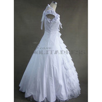 Affordable Simple Puff Sleeves Lace Bowknot Ruffles White Gothic Victorian Dress [TQL120427070] - $102.42 : Zentai, Sexy Lingerie, Zentai Suit, Chemise