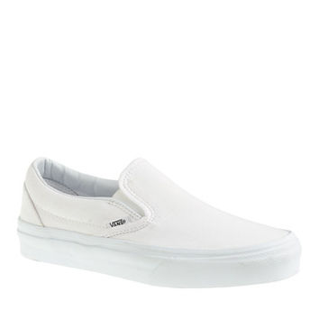 J.Crew Womens Unisex Vans Solid Canvas Classic Slip-On Shoes In White