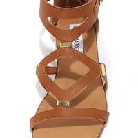 Steve Madden Comma Cognac and Gold Gladiator Sandals