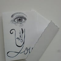 I love you card, eye love you, original pen sketch, Valentines Day card, I love you