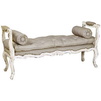 Queen Anne Hall Bench in Cygne Blanc