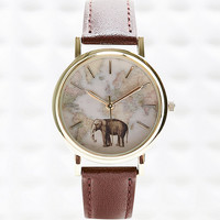 Elephant Map Leather Watch - Urban Outfitters