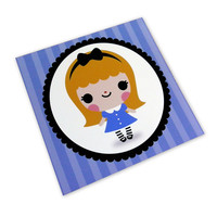 Alice In Wonderland Kawaii Art Print 5 x 5