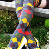 Geometric Harlequin Print with Thigh-High Color Stripes OTK Socks