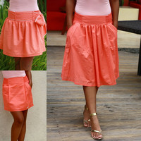 ON SALE Coral Midi Skirt with Pockets / Bridesmaid Skirt / Salmon Skirt Tea Length