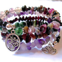 Powerful Genuine Gemstone Memory Wire Bracelet, Tourmaline, Amethyst, Flourite, Rose Quartz, Garnet, Moss Agate, Jasper, Om and Lotus Charms