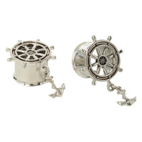 Steel Ship Wheel And Anchor Eyelet Plug 2 Pack