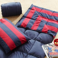 Rugby Stripe Sleeping Bag + Pillowcase, Red/Navy