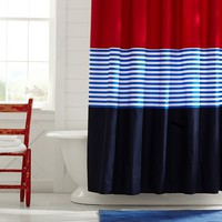 Colorblock Shower Curtain, Navy/Red