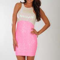 Love In The Future Dress: Neon Pink/Cream