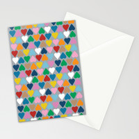 Up and Down Hearts on Grey Stationery Cards by Project M