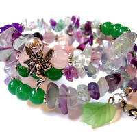 Nature and Fairy Inspired Gemstone Memory Wire Bracelet, Amethyst, Flourite, Rose Quartz, Green Aventurine, Fairy, Mushroom & leaf Charms