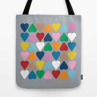 Up and Down Hearts on Grey Tote Bag by Project M