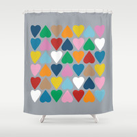 Up and Down Hearts on Grey Shower Curtain by Project M
