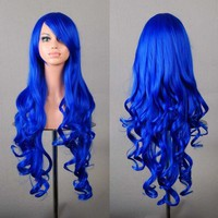 "MapofBeauty 32"" 80cm Long Hair Spiral Curly Cosplay Costume Wig (Dark Blue)"