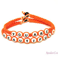 You Are Beautiful, Inspirational Bracelet, Coral Macrame Hemp Jewelry, Gifts for Her, Made to Order
