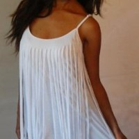 WHITE DRESS MINI TOP FRINGED LAYERED JERSEY SEXY - FITS - L 1X 2X - Z238S LOTUSTRADERS