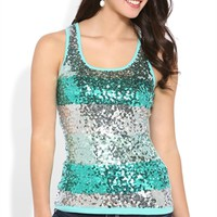 Multicolor Sequin Striped Tank Top