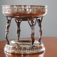 Art Nouveau Silver Figural Centerpiece Tazza, Neoclassical Maiden Two Tier Silver Plate Brass Epergne, Silver Compote Server with Brass Bowl