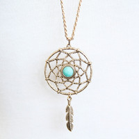 Golden Dreamcatcher Necklace