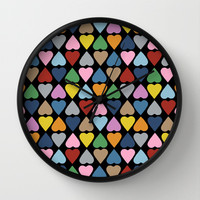Diamond Hearts on Black Wall Clock by Project M