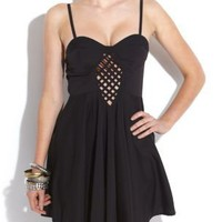 Cameo Rose Black Cross Front Panel Dress