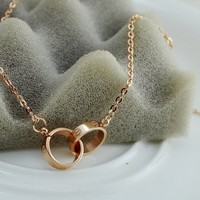 Love Double Ring Necklace