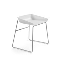 White Scoop Low Stool
