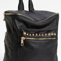 Studded Faux Leather Backpack in Black or Dark Red