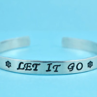 LET IT GO - Hand Stamped Aluminum Cuff Bracelet, Adjustable Skinny Bracelet