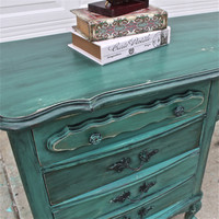 Teal Green French Provincial Desk/ Turquoise/ Vintage Vanity/ Bedroom Furniture/ TV Stand/ Storage/ Distressed/ Rustic