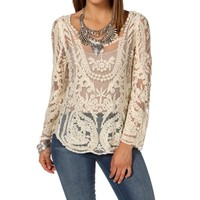 Ivory Long Sleeve Crochet Top